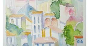pintura aquarela santa cecilia 1