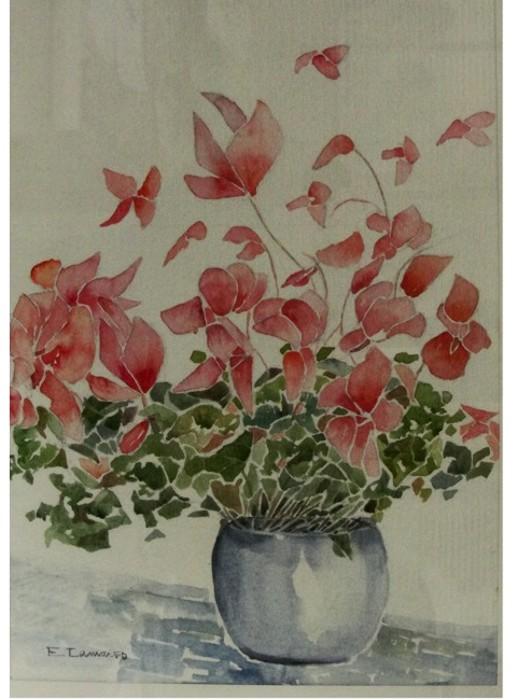 Pintura em aquarela flores expo