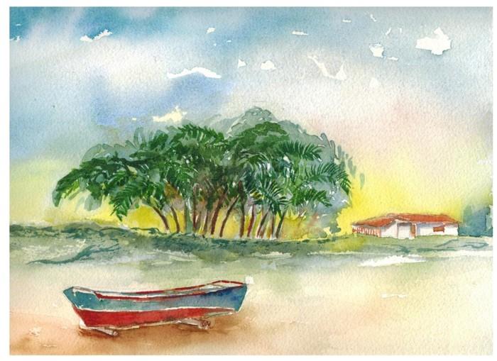 pintura aquarela coqueiro 1