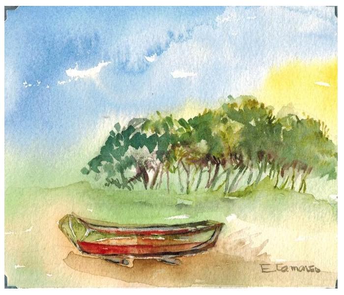 pintura aquarela coqueiro