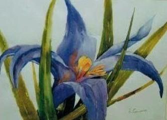 pintura aquarela flores azul