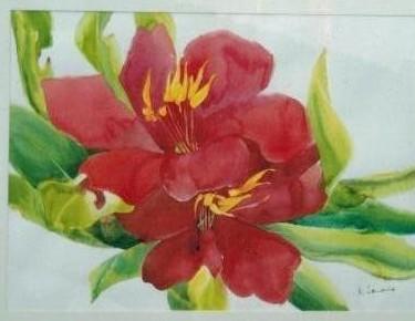 pintura aquarela flores vermelhas