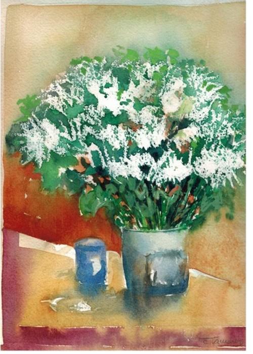 pintura em aquarela flores branca
