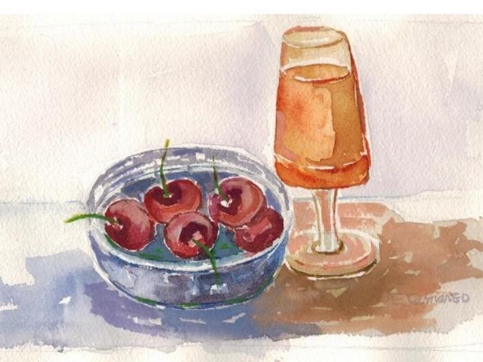 pintura em aquarela roma e copo