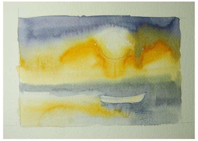 pintura em aquarela sol 1