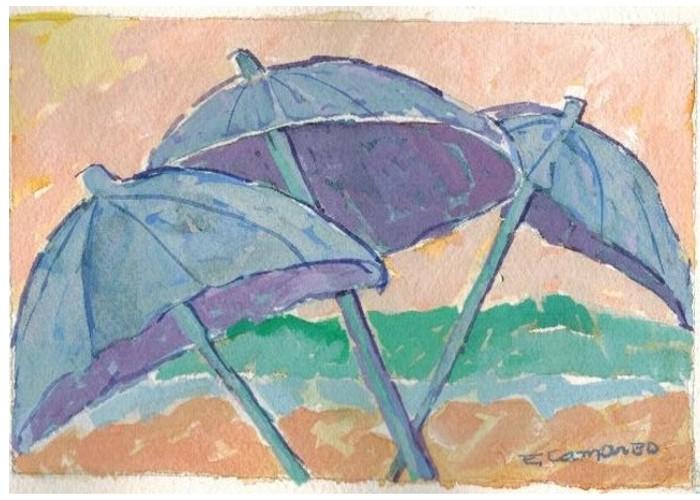 pintura em guache praia 1