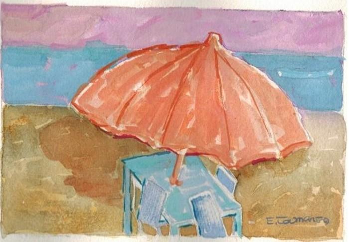 pintura em guache praia 3