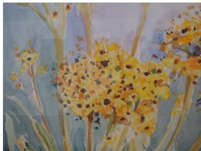 aquarela flores amarela
